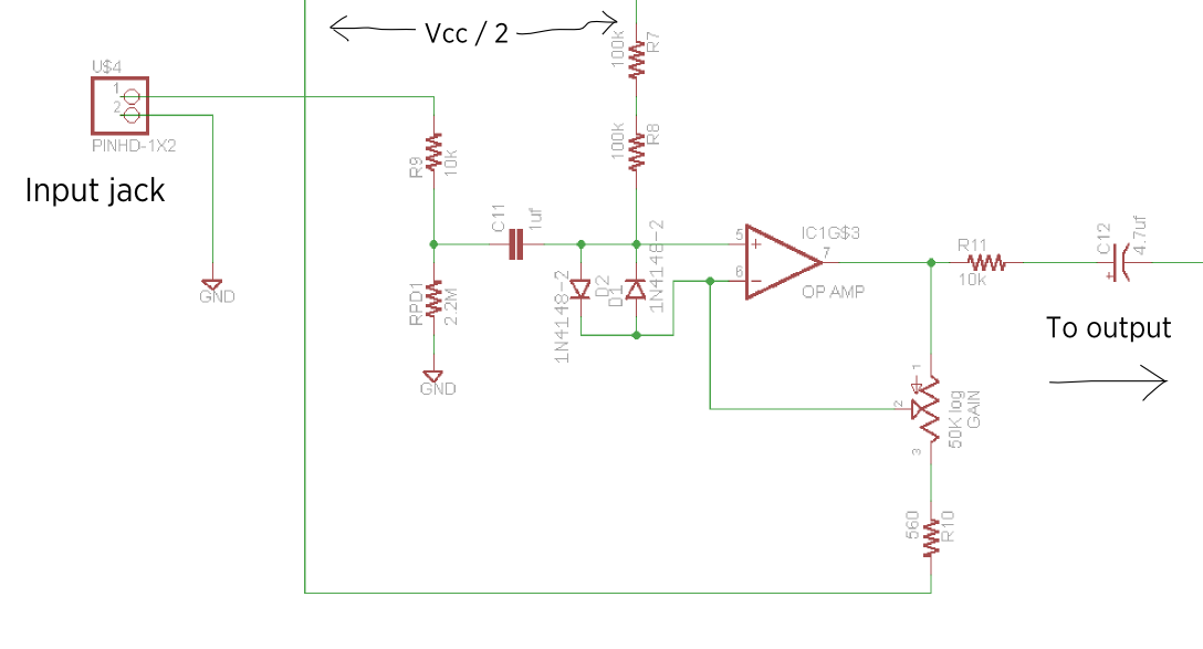 The schematic of the front end of the Stella amp.
