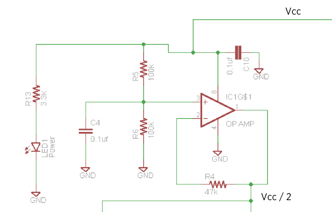 The schematic of the virtual ground section for the Stella amp.