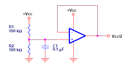 A schematic for a virtual ground held at half the supply voltage