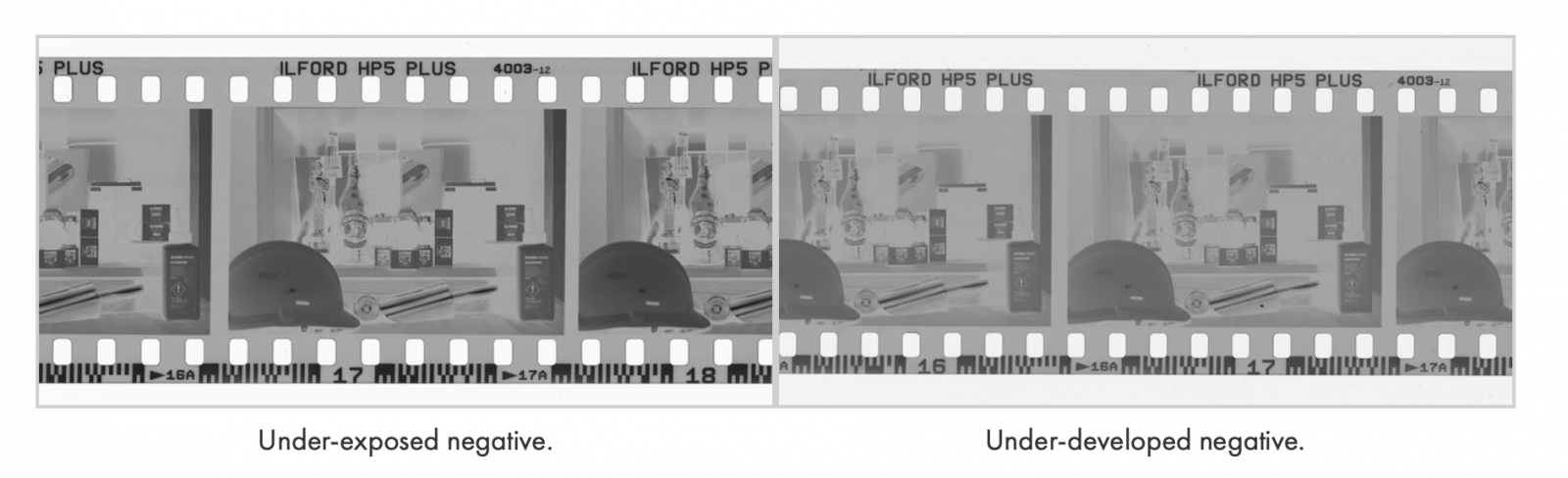 A picture of two photographic negatives side by side. The left hand one shows an under-exposed negative, the right hand one shows an under-developed negative.