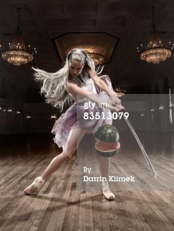 Ballerina slicing a watermelon