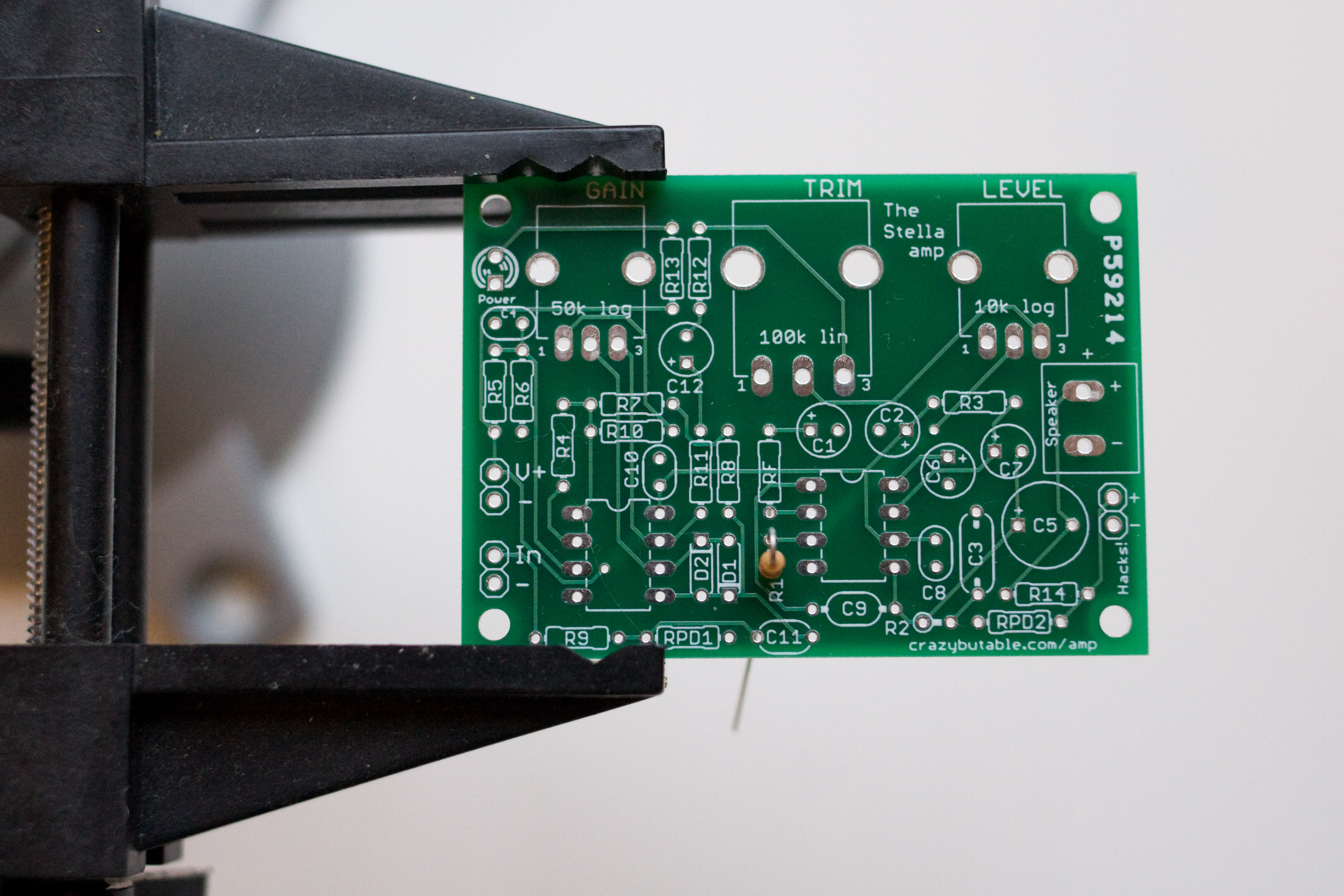 The circuit board with R1 placed.